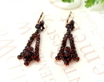 Vintage garnet earrings w/14ct gold wires Victorian style || ГРАНАТ 3RDW#PK