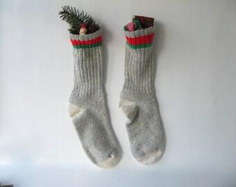 Vintage Wool Christmas Stocking, Men's wool sock, holiday decor