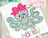 Octopus Girl 2 Applique Machine Embroidery Design INSTANT DOWNLOAD