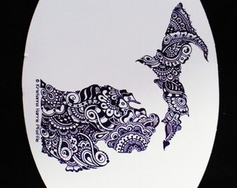 "Michigan, purple on white, original design vinyl decal, 4x6"""
