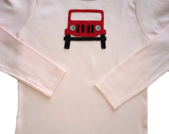 Kids handamde JEEP shirt, Pink 6T shirt with RED JEEP, kid's shirts