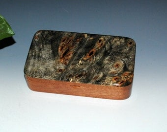"Handmade Wood ""Oyster"" Box - Buckeye Burl on Mahogany - Stash Box, Desk Box, Gift Box, Jewelry Box"