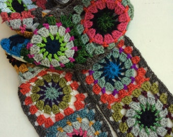 Folk City Granny Square Wool Scarf