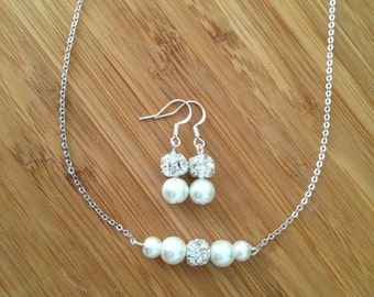 Set of 3 Bridesmaid Necklace and Earring Sets, 3 Pretty pearl and rhinestone graduated necklaces & drop earrings