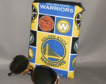 Eyeglass or Sunglasses Case - Warriors - Padded Zippered Pouch - iPhone - Cell Phone - Basketball - Golden State