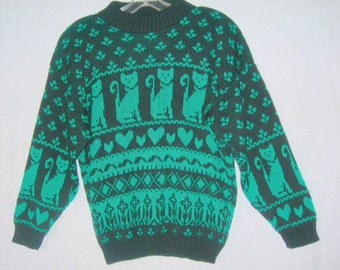 Vintage Black & Green Pullover Sweater with Cats/Hearts-Size Small-Very Cute!