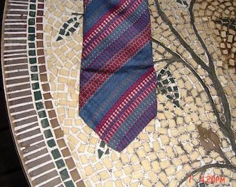 Vintage Yves Saint Laurent Stripe Silk Necktie - Hipster Chic