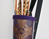 "Black & Purple Back Quiver + Protecting Glove ""Celtic Purple"""