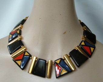 Vintage Napier Couture Deco Lucite Collar Cleopatra Necklace Gold Black Red Blue