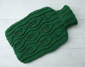 Knitted Hot water bottle Cover Green Cable Leaf Design 100%  pure wool