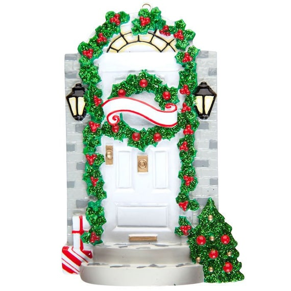 Personalized Christmas Ornament White Door New Home New