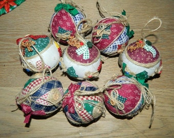 8 Vintage Fabric and Twine Christmas Ball Ornaments - Country Christmas - Rustic Country Charm