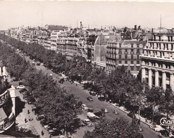 PARIS POST CARD, 1956, Glossy Black and White, Avenue des Champs-Elysees, Cancelled French Stamp, Vintage Travel Ephemera, Souvenir