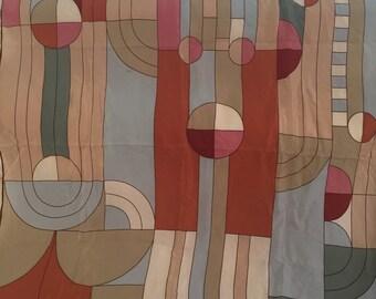 Rich Muted Abstract Vintage FRANK LLOYD WRIGHT Silk Scarf