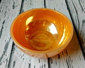 Vintage Fire King Peach Lusterware Bowl - Anchor Hocking Pyrex Glass Bakeware - Gift for Cook