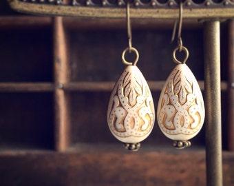 Gypsy Drop Earrings / Pierced Dangly Little Simple Boho Bohemian Belly Dancer Gift Vintage Style Gold Beaded Victorian Costume Lightweight