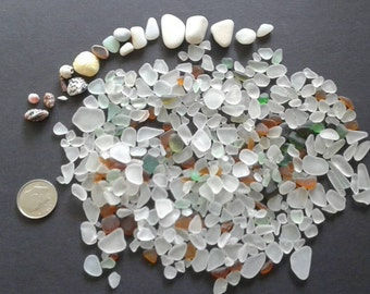 Tiny seaglass for lockets or tiny glass jars 2.5 ounces of seaglass  and shells #17seaglass
