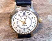 Soviet mechanical watch Slava from Soviet Union period, gold covered ladies wristwatch
