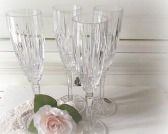 Vintage Champagne Flutes Romantic Wedding Bridal Party Glasses Wedding Crystal Glasses Mikasa  Boho Wedding Hollywood Regency Barware