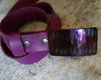 "Coloured Belts with Snaps Purple, Orange, Blue, Red, Chartreuse 100% Eco Friendly Hand Dyed Leather Belts w/ Snaps 1.5"" Wide for Blue Jeans"