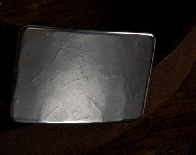 "Jack Frost Silver Suit Belt Buckle Hypoallergenic Stainless Steel Textured Classic Men's Buckle Accessories Signed Original Fits 1-1/4"" Belt"