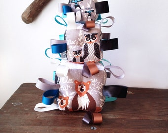 Bear Baby Gift, Fabric Baby Block, Grey Black Aztec Woodland, Owls Raccoon Deer Antlers Leaves, High Contrast, Gender Neutral, Ribbon Rattle