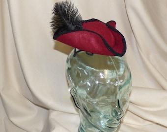 Pirate Hat Fascinator- Red and Black Mini Tricorn Hat