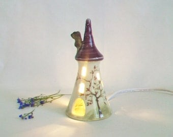 Small Size Fairytale Tower - Rapunzel - Night Light -  Purple/Plum Roof - Hand Painted Wild Rose Vine - Wheel Thrown - Ready to Ship