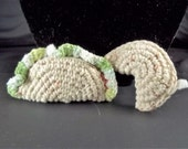 Crochet Taco and Fortune Cookie-Cat Toys Set of 2