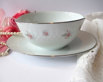 Vintage Noritake Mabel Pink Rose Gravy Boat with Attached Underplate