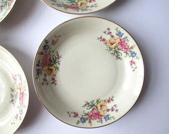 Vintage Heinrich Selb Bavaria Germany Floral Soup Bowls Set of Four