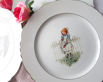 Vintage Holly Hobbie Pattern Girl with Rose Dinner Plates Set of Four