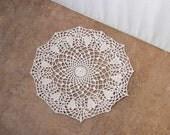 Valentine Hearts Crochet Lace Doily, Ecru Table Decor, Romantic, Elegant