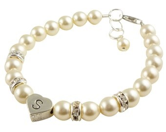 Flower Girl Bracelet Gift - ivory cream pearls- initial- rhinestone- custom