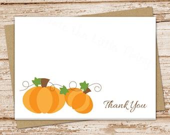 pumpkin thank you cards . autumn fall pumpkins . folded cards . note cards, notecards . stationery, stationary  set of 8