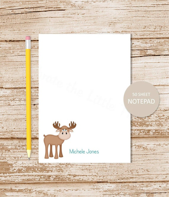 personalized moose notepad whimsical moose note pad personalized