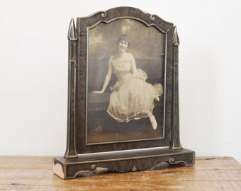 Vintage Swing Frame with Portrait Chippy Antique Swivel Frame Glass Insert