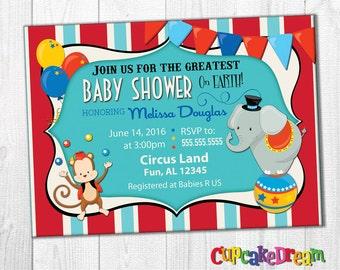 Circus Baby Shower Invitation, Circus Baby, Circus Invitation