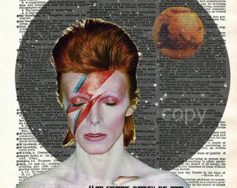 David Bowie Ziggy Stardust Vintage Upcycled Dictionary Art Print
