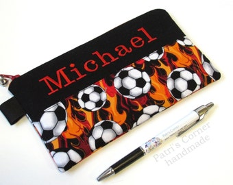 Handmade pencil bag with zipper - Soccer ball and flames - zipper pouch - embroidery monogram name - storage bag - back to school