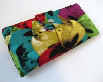 Handmade wallet butterflies wings -  bright colors - Women's wallet with ID clear pocket - Bifold wallet - ready to ship - Gifts for her
