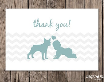 Boston Terrier Baby Thank You Card - 6x4in