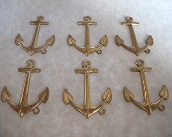 Vintage Large Anchor Charms in Raw Brass - Flat Back, 6 Pieces