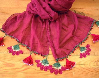 burgundy scarf with crochet flowers, pink tassels and beads