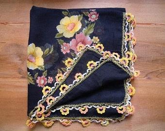 scarf with crochet trim, black cotton