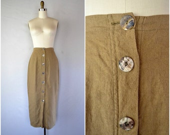 vintage safari flax skirt / natural neutral brown high waist skirt / xs small medium
