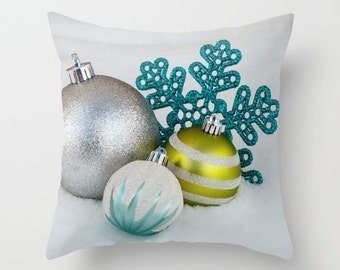 Teal and Chartreuse Holiday Pillow Covers, Christmas Chair Throw Cushion Case, Festive Silver Snowflake Themed Home Decor, Modern Accent