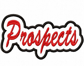 Prospects Script with Background Embroidery Machine Applique Design 10842