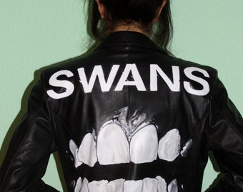 SWANS / Filth / Hand-Painted on Vintage Leather Jacket