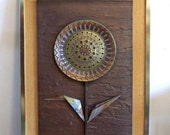 Cold Cast Bronze Abstract Sunflower / Face Flower sculpture wall hanging by Giovanni Schoeman 1975